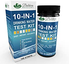 10-in-1 Drinking Water Test Kit by Baldwin Meadows - Water Quality Test for Well Water & Tap Water - IMPROVED SENSITIVITY detects low level ranges for Lead, Fluoride, Iron & Copper + MORE! 100 Count