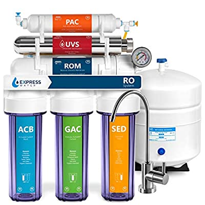 Express Water Ultraviolet Reverse Osmosis Water Filtration System - 6 Stage RO UV Water Sterilizer with Faucet and Tank - UV Under Sink Water Filter - 100 GPD with Pressure Gauge and Clear Housing