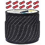 テントロープ パラコード タープロープ ガイロープ 反射 ガイライン 自在金具付き 50m アルミ自在金具 ボビン巻 キャンプ ロープ 4mm/5mm 耐久性 (ブラック(直径4mm))