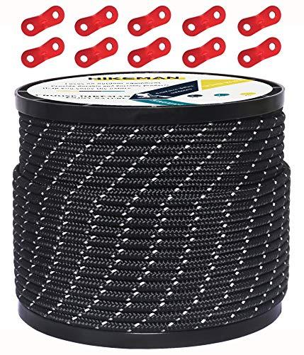 HIKEMAN 50M reflektierende Schnur Guy Seile Outdoor Zelt Führungsseil 100% Nylon Schnur Windlinie mit 10 Stück Aluminiumlegierung Spanner für Camping (Black, Diameter 3 mm)