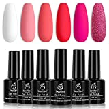 Beetles Valentine's Day Glitter Baby Pink Red Gel Nail Polish Set 6 Colors Pink White Gel Polish Kit Soak Off LED Lamp Nail Gel Kit Christmas New Year Girlfriend Gift for Women Mom Manicure Kit