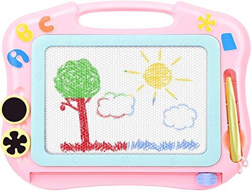 Pizarra magnética de dibujo con parte trasera, tamaño de viaje, se puede borrar, juguete educativo para niños, regalo de 3, 4, 5 años (rosa)