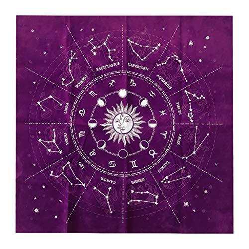 49 * 49cm 12 Sternbilder Tarotkarte Tischdecke Velvet Divination Altar Stoff Brettspiel Fortune Astrology Oracle Card Pad