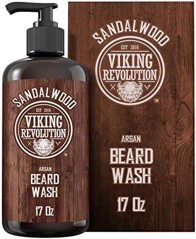 Beard Wash Shampoo w Argan Jojoba Oils Softens Strengthens Sandalwood Scent Beard Shampoo w product image