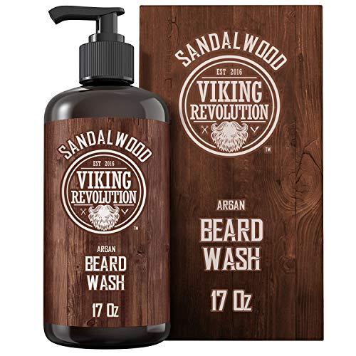 Beard Wash Shampoo w/Argan & Jojoba Oils – Softens & Strengthens – Sandalwood Scent – Beard Shampoo w/Beard Oil (17 oz Shampoo)