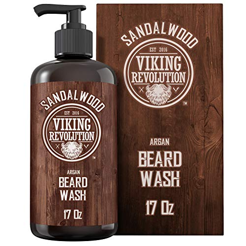 Beard Wash Shampoo w/Argan & Jojoba Oils - Softens & Strengthens - Sandalwood Scent - Beard Shampoo w/Beard Oil (17 oz Shampoo)