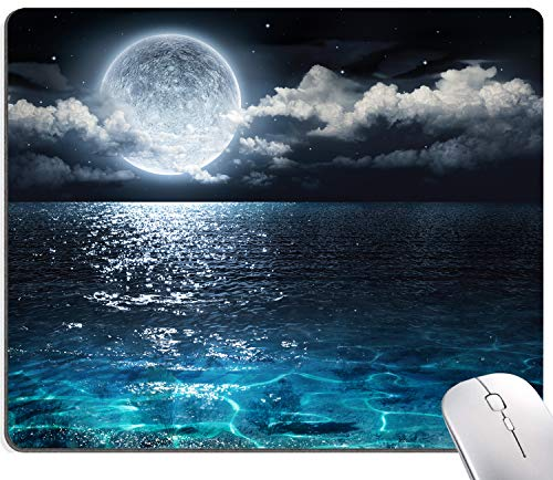 Ocean and Moon Mouse Pad, Moon Illuminating The Clear Blue Ocean Design Mouse Pad, Mouse Mat Square Waterproof Mouse Pad Non-Slip Rubber Base MousePads for Computer Laptop Men Women Kids