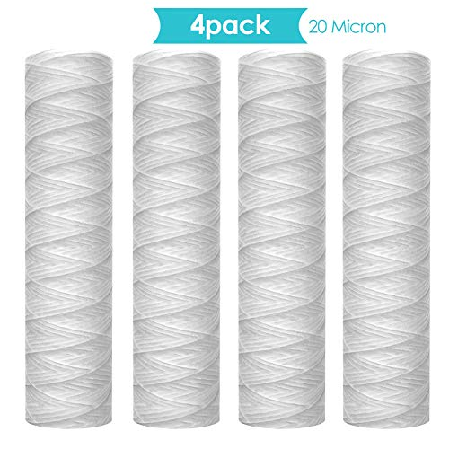 Membrane Solutions 20 Micron 10' String Wound Sediment Water Filter Cartridge,Whole House Sediment Filtration, Universal Replacement for Any 10 inch RO Unit