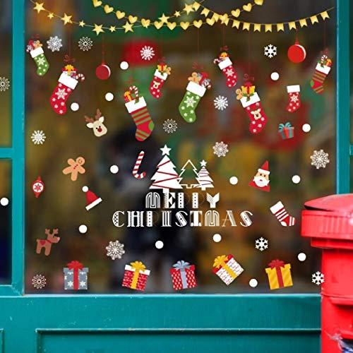 Etiquetas engomadas de la ventana de la Navidad, etiquetas engomadas de la pared de la Navidad, 90x60cm Etiqueta engomada de la Navidad Decoración Etiqueta de la puerta de la cortina Ventana del