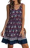 Angashion Womens Summer Casual Floral Spaghetti Strap V Neck Boho Button Backless Mini Swing Skater Dress 185navy Blue M