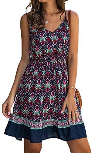 Spec4Y Damen Kleider Kurz Blumen Sommerkleid Swing V Ausschnitt Ärmellos Minikleid A Linie Skatekleid 185 Dunkelblau Small