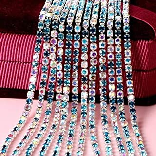 Shoppy Star Pulaqi Fine Mixed Color AB Rhinestone Claw Chain Silver Encryption Claw Diamond Chain Diy Silver Base Apparel Rhinestone Chain D SS10 Copper