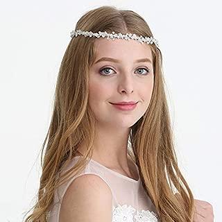 AW BRIDAL Silver Wedding Headpiece Rhinestone Bridal Headband Pearl Hair Vine Wedding Belt Bridal Hair Accessories for Women Girl