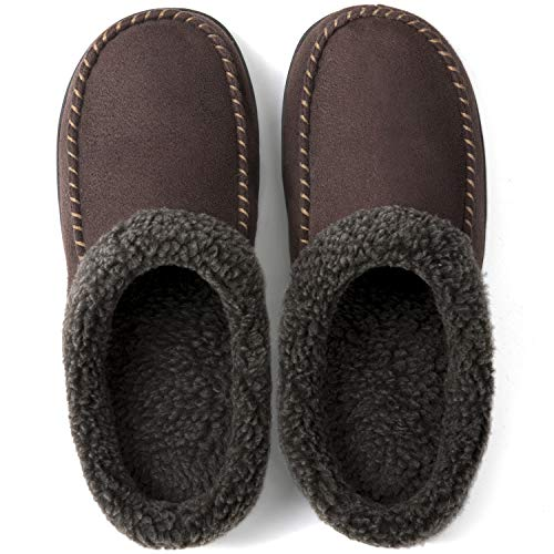 ULTRAIDEAS Men's Cozy Memory Foam Moccasin Suede Slippers with Fuzzy Plush Wool-Like Lining, Slip on Mules Clogs House Shoes with Indoor Outdoor Anti-Skid Rubber Sole(Coffee, 9-10)