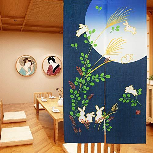 LIGICKY Japanische Gardinen Noren Lang Vorhänge Türvorhang Tapisseri für die Heimtextilien Raumteiler, Blau 85 x 150 cm (Kaninchen unter Mond)