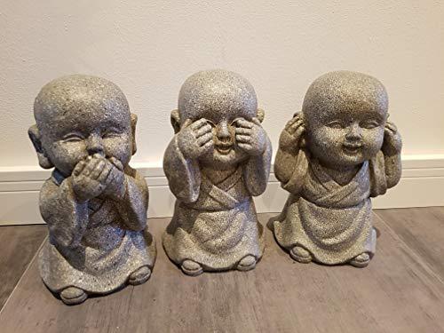 G. Worm monnik in steen-look, niets hooren, niets zien, niets zagen en set van 3