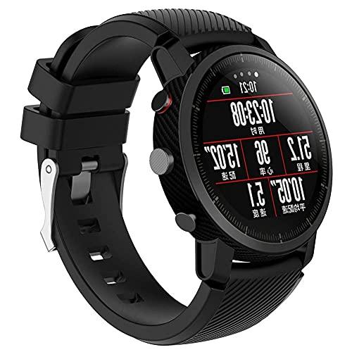 Silicona Pulsera Compatible Con Amazfit Stratos 22mm Banda Para Smartwatch Reloj de Correa (Nergo)
