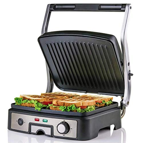 Ovente Electric Panini Press Grill 4 Slices Non Stick Coated Plates with 3 Heat Settings, Cool Touch Handle, 1500 Watts Versatile Grill for Steaks, Burgers, Fish, and More, Silver (GP1861BR)