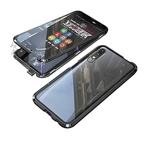 Jonwelsy Kompatibel für Huawei Honor 9X / 9X Pro (6,59 Zoll) Hülle, 360 Grad Vorne & Hinten Gehärtetes Glas Transparente Hülle Cover, Stark Magnetische Adsorption Metallrahmen Handyhülle (Schwarz)