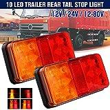 12V Luces Traseras para Remolque LED Pilotos Remolque Luz de Matrícula Freno Rojo y Ámbar Adecuado para remolque Caravana Camión Tractor 2 pzs