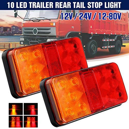 Feu Arrière 12V LED Multifonctionnel Feux Remorque Led Univesel Étanche Clignotant de Position Feux de pour Camion Remorque Caravane Tracteur