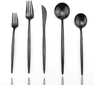 YWDGZFB طقم أدوات مائدة من 24 قطعة مصنوع من الاستانلس ستيل المرآة