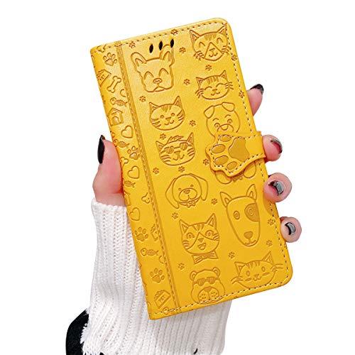 Oihxse Billetera Cuero Funda Compatible con iPhone 12 Pro 6.1'' 2020 PU Libro Tapa Flip Soporte Plegable Protector Magnético Carcasa Gato Perro Lindo Animal Diseño Wallet Case-Amarillo