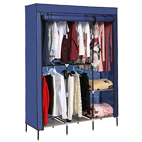 Hicient Portable Clothes Closet Wardrobe Storage Organizer with Breathable Fabric, Zippered Double Rod Closet, Easy to Assemble Strong Durability Bedroom Clothes Closet Organizer (Blue)