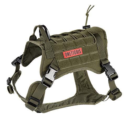 OneTigris Taktische Hundeweste Service Hundegeschirr MOLLE Hundeausbildung Geschirr 1000D Nylon (L, Ranger Grün)