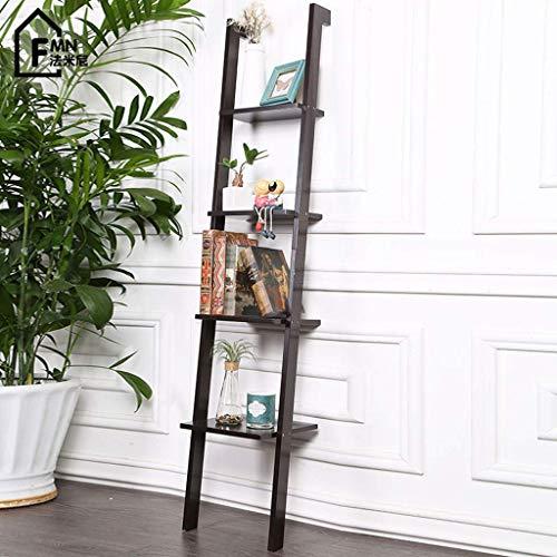 WIN&FACATORY Nordic Solid Wood Ladder Rack opknoping muur Slaapkamer Woonkamer Decoratiecreatieve Boekenplank Home decor opslag rekken (kleur : ZWART) Zwart