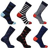 DOUBLE M, Pack 4 o 6, Calcetines Estampados Hombre, Calcetines Divertidos, Calcetines Altos, Calcetines Algodón, Diferentes Diseños, Talla Única 38-46.