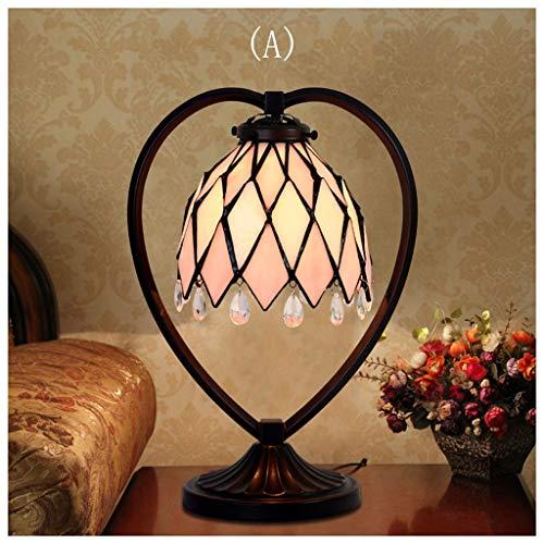 YYF Lampe de table en cristal romantique américain Chambre cadeau chaleureux chevet en verre de fer forgé (Color : A)