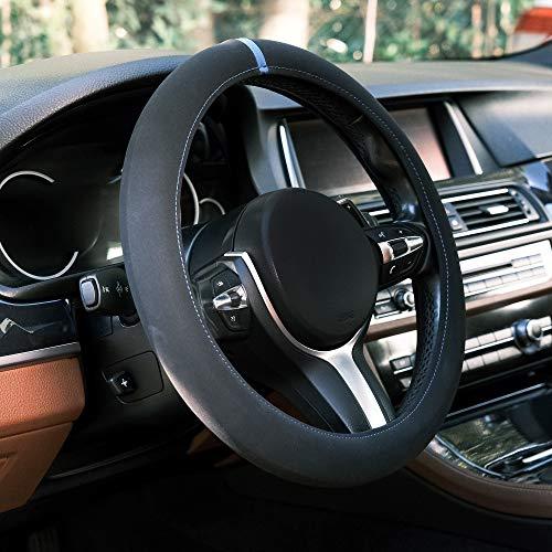 Automix Funda para volante coche Alcantara, suaves, antideslizantes y sin olor, tamaño universal, 38-40 cm, color (Azul)