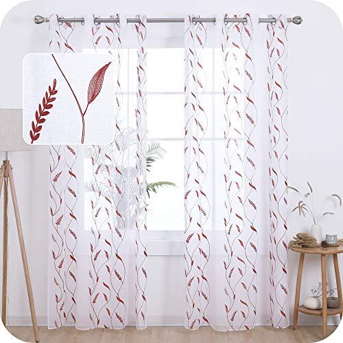 Amazon Brand - Umi Tende Trasparenti in Voile Ricamate per Salotto Moderne con Occhielli 140x290cm Arancione 2 Pannelli