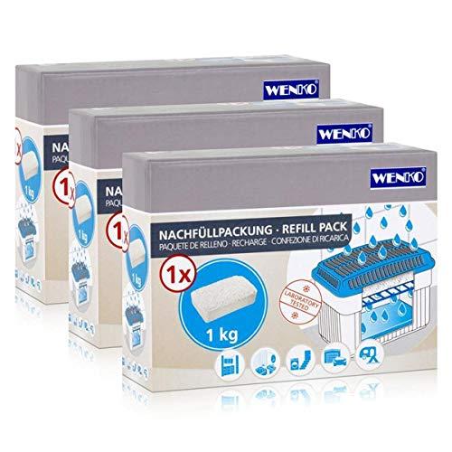 3x Wenko Nachfüllpackung Feuchtigkeitskiller Raum-Entfeuchter, 1kg Granulat