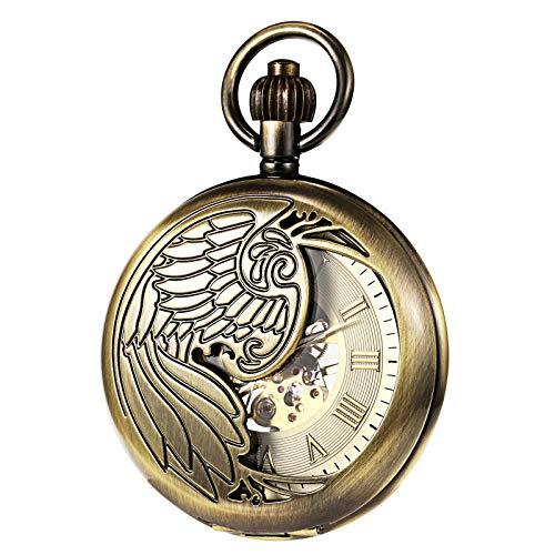 TREEWETO Herren Taschenuhr mit Kette, Retro Adler Analog Steampunk Skelett Uhr, Mechanisch Handaufzug Taschenuhren mit römischen Ziffern für Herren - Bronze
