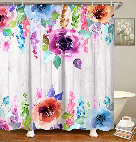 LIVILAN Watercolor Floral Shower Curtain, Striped Fabric Bathroom Curtains Set with Hooks Colorful Flowers Bathroom Decor 72x72 Inches Machine Washable