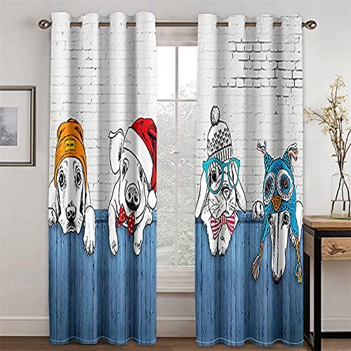 YUNSW Cortinas Planas De Perrito Realista 3D para Sala De Estar, Dormitorio, Estudio, Cortinas Opacas De Fibra De Poliéster, Juego De 2 (Total Width) 160x(Height) 160cm