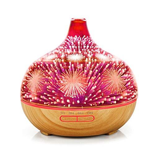 Aroma Diffuser Luftbefeuchter Humidifier 3D Feuerwerk Glas Luftbefeuchter Mit 7 Farben Led Nachtlicht Aroma Ätherisches Öl Silent Diffusor Luftbefeuchter Ultraschall Timer-Helles Holz_Reino Unido