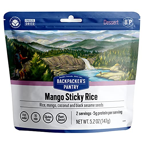 Backpacker's Pantry Mango Sticky Rice | Freeze Dried Backpacking & Camping Food | Emergency Food | 10 Grams of Protein, Vegan, Gluten-Free | 1 Count