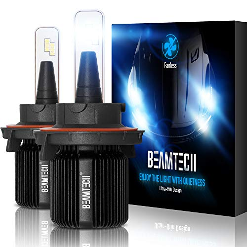 BEAMTECH H13 LED Bulbs,Fanless CSP Y19 Chips 6500K Xenon White 9008 Extremely Bright Conversion Kit Ultra Thin All In One Halogen Replacement