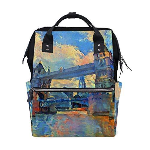 Olieverfschilderij UK Londen Tower Bridge Rugzak Luiertas Tas voor Moeder Vrouwen Baby Nappy Tas Reizen Rugzak Grote School Laptop Wandelen Tas Outdoor