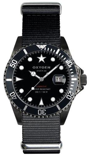 Oxygen EX-D-MBB-40-BL - Reloj analógico de Cuarzo Unisex, Correa de Nailon Color Negro (Agujas luminiscentes)