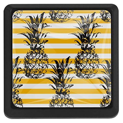 [4 unidades] Tirador de cajón de cristal con tornillos para el hogar, la oficina, el gabinete, el armario, la piña, rayas amarillas