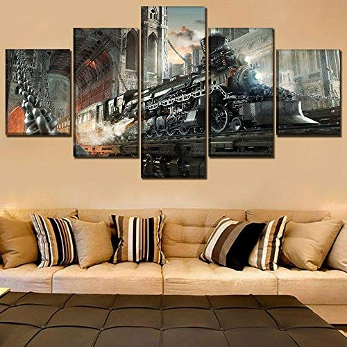Modern Artwork Prints 5 panel Prints on Canvas Steampunk Retro Train Wall Art For Home Modern Decoration Framed Pictures Stretched Framed Artwork Gift steampunk buy now online