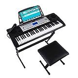 Mugig MLS-939 Kit de Piano Electrico de 61 Teclas con Pantalla LCD multifunción, Soporte del Teclado, Taburete del teclado, micrófono y soporte para Atril