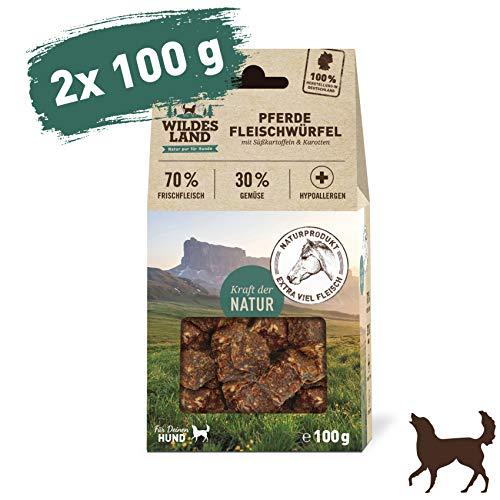Wildes Land | Fleischwürfel Pferd | 200 g | Kausnack für Hunde | 70% Frischfleisch | 30% Gemüse & Beeren | Natürlich belohnen | getreidefrei | Hohe Akzeptanz | Frisches, schonend getrocknetes Fleisch