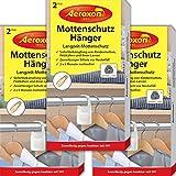 Aeroxon Mottenschutz-Hänger - 3x2 Stück - Verlässliche, starke und schnelle Mottenfalle gegen Kleidermotten - Mottenschutz für Kleiderschrank