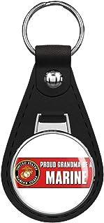 PRS Vinyl Proud Grandma of a Marine (Logo Seal USMC) Black Leather Keychain Silver Keyring