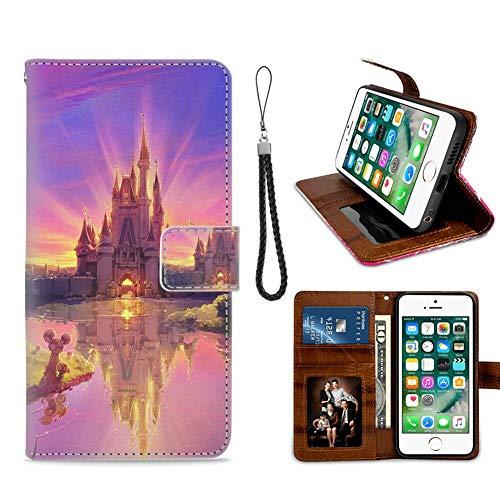 DISNEY COLLECTION Funda tipo cartera para iPhone 7/8 Plus, de piel sintética, diseño de castillo de Disney, con correa de mano, función atril, para mujeres y niñas